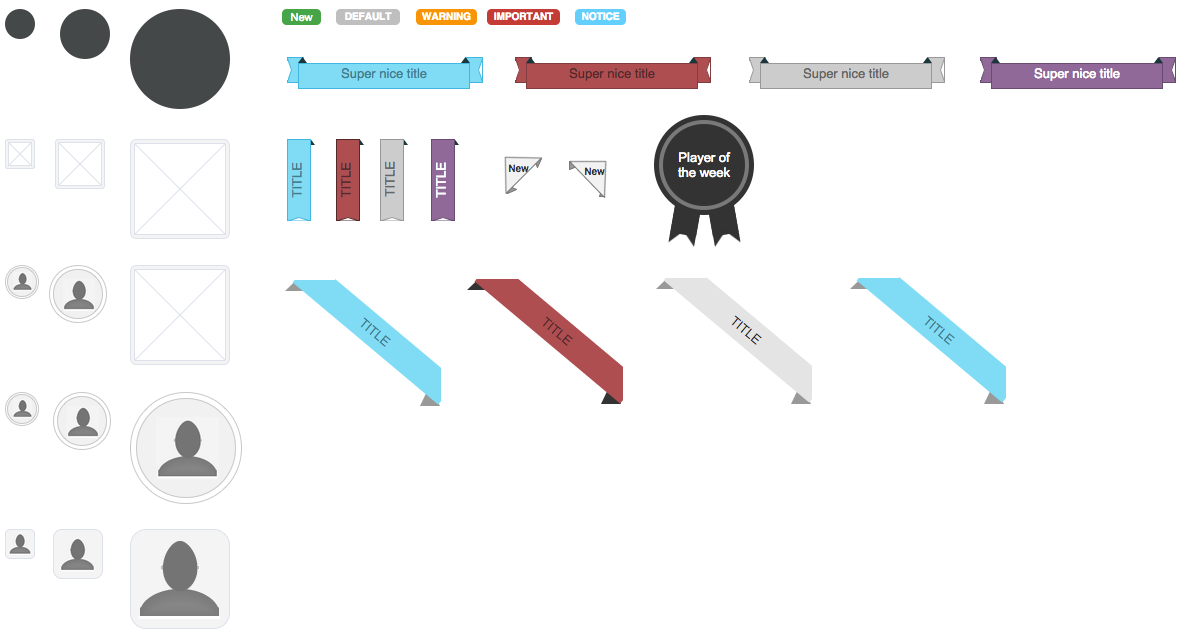 All the ribbons, labels and avatars offered by our toolkit